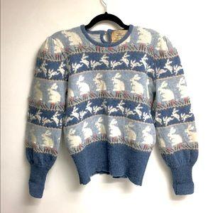 Vintage Wool / Angora Sweater Bunny Blue M